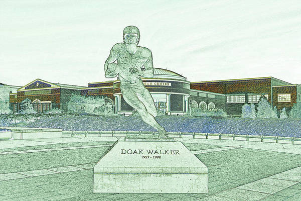 Wall Art - Drawing - S M U Legend Doak Walker by Mountain Dreams
