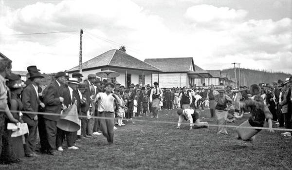 Painting - Sack Race During Coal Branch Sports Day, Mountain Park, Alberta, Ca. 1925 By Charles Lee by Charles Lee