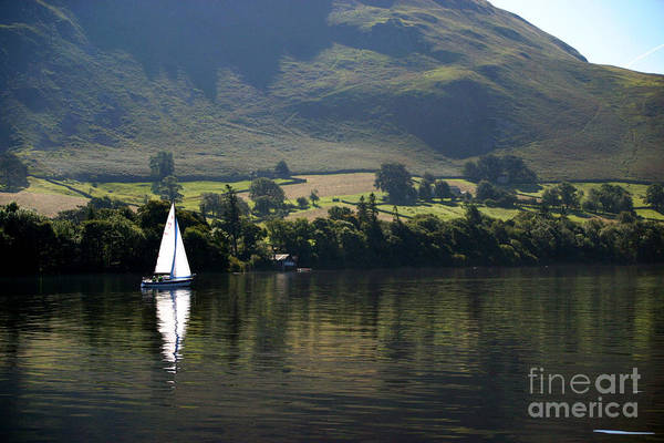 Wall Art - Photograph - Sailboat On Ullswater In The Lake by Paul Banton