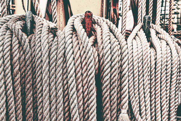 Raft Wall Art - Photograph - Sailboat Ropes Retro by Mihaela Pater