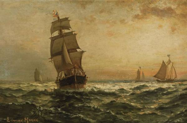 Wall Art - Painting - Sailing At Sunset by Edward Moran