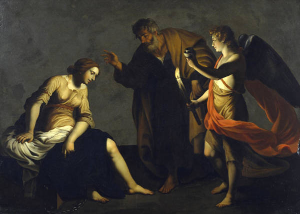 Painting - Saint Agatha Attended By Saint Peter And An Angel In Prison by Alessandro Turchi