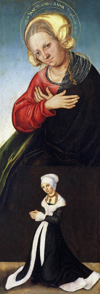Saint Anne Painting - Saint Anne With The Duchess Barbara Of Saxony As Donor by Lucas Cranach the Elder