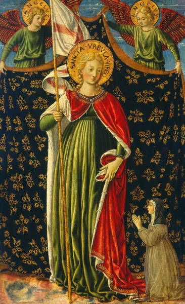 Painting - Saint Ursula With Two Angels And Donor by Benozzo Gozzoli