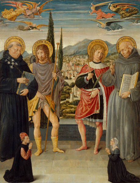 Painting - Saints Nicholas Of Tolentino, Roch, Sebastian, And Bernardino Of Siena, With Kneeling Donors by Benozzo Gozzoli