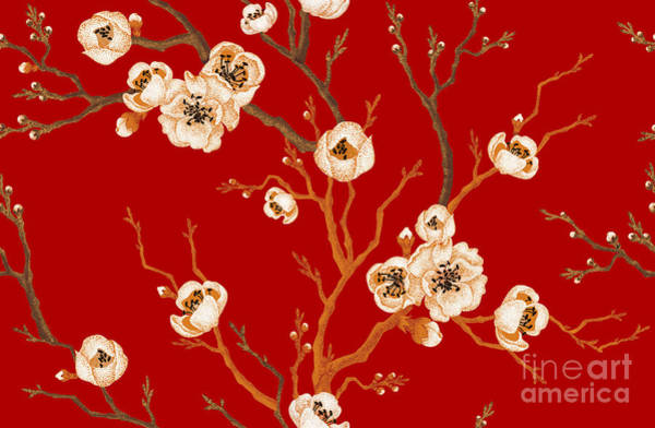 Wall Art - Digital Art - Sakura Branch On Red Background. Vector by Mamita