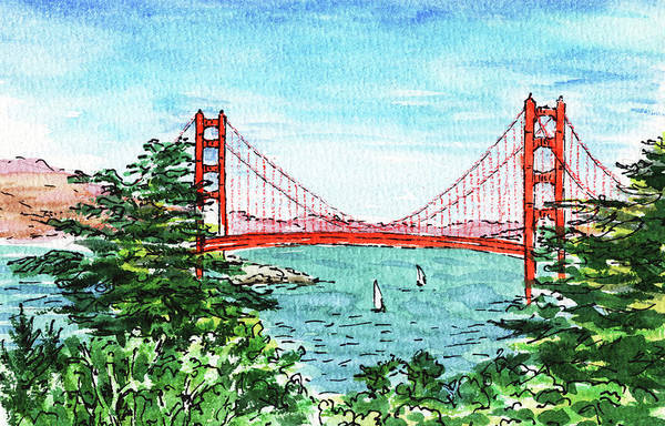 Wall Art - Painting - San Francisco California Golden Gate Bridge by Irina Sztukowski