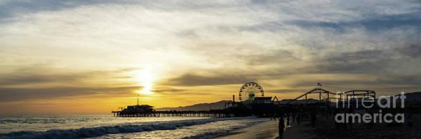 Wall Art - Photograph - Santa Monica Pier Sunset Panorama Photo by Paul Velgos