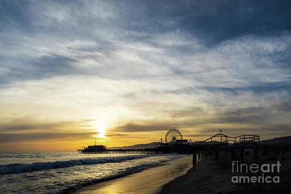 Wall Art - Photograph - Santa Monica Pier Sunset Photo by Paul Velgos
