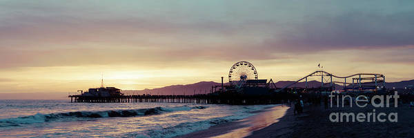 Wall Art - Photograph - Santa Monica Pier Sunset Retro Panoramic Photo by Paul Velgos