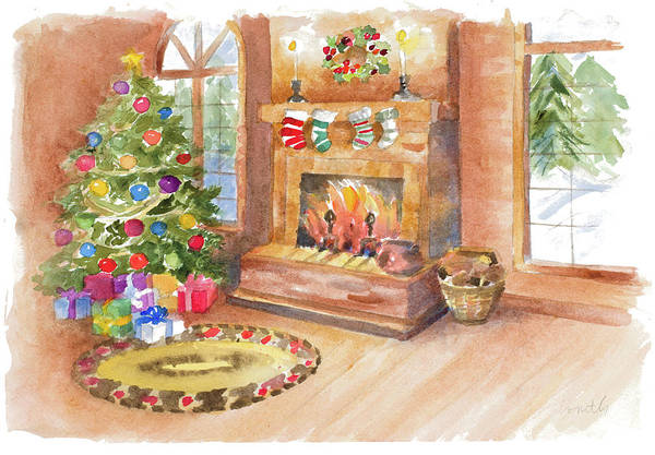 Wall Art - Painting - Santa's Fireplace And Tree Scene by Lanie Loreth