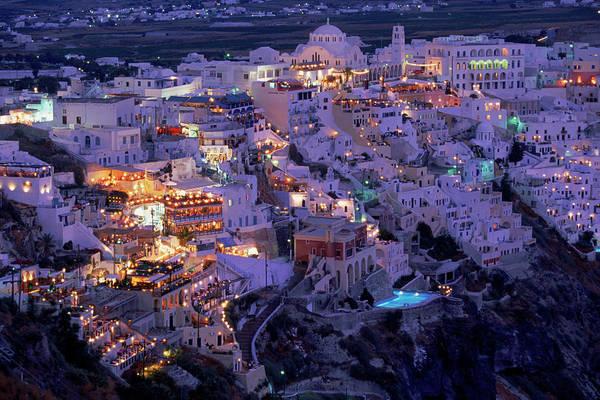 Greece Photograph - Santorini At Night, Greece by Walter Bibikow