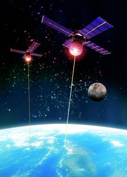 Space Exploration Digital Art - Satellite Attack, Artwork by Victor Habbick Visions