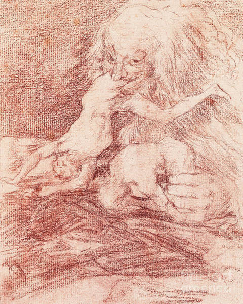 Satan Drawing - Saturn Devouring One Of His Children by Goya