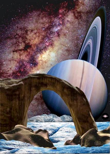 Wall Art - Painting - Saturn Rising by Ron Chambers