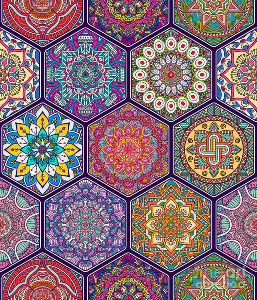Wall Art - Digital Art - Seamless Pattern. Vintage Decorative by Visnezh