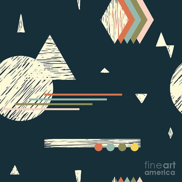 Memphis Design Wall Art - Digital Art - Seamless Pattern With Various Geometric by Radiocat