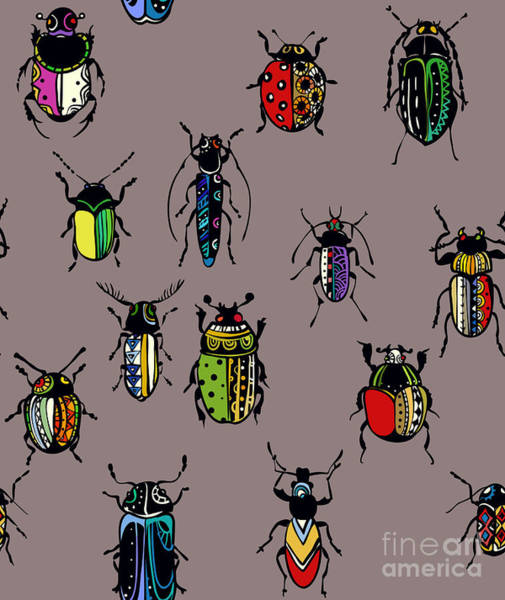Wall Art - Digital Art - Seamless Texture With Funny Bugs by Eva mask