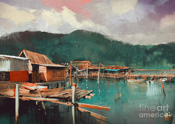 Wall Art - Digital Art - Seascape Painting Showing Old Fishing by Tithi Luadthong