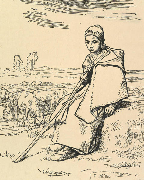 Relief - Seated Shepherdess by Jean-Francois Millet