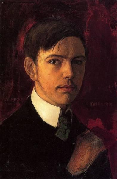 Wall Art - Painting - Self Portrait  by August Macke
