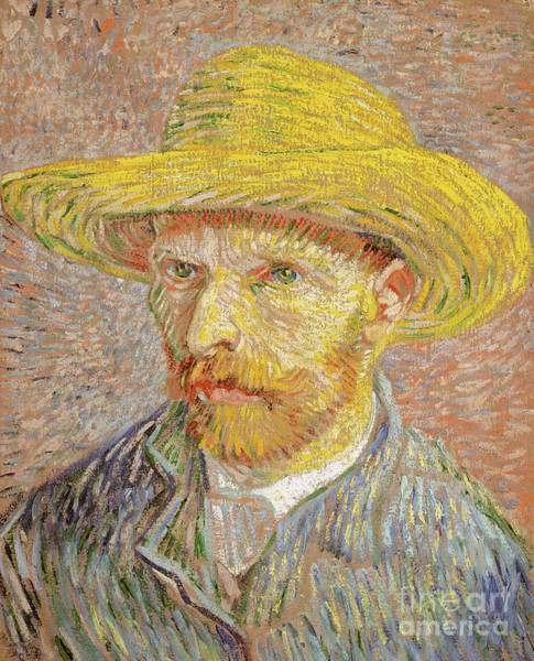 Wall Art - Painting - Self-portrait With A Straw Hat, 1887 by Vincent Van Gogh