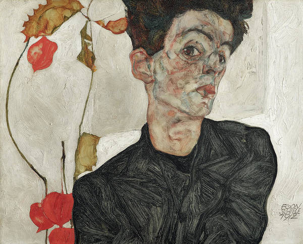 Wall Art - Painting - Self-portrait With Chinese Lantern Plant, 1912 by Egon Schiele