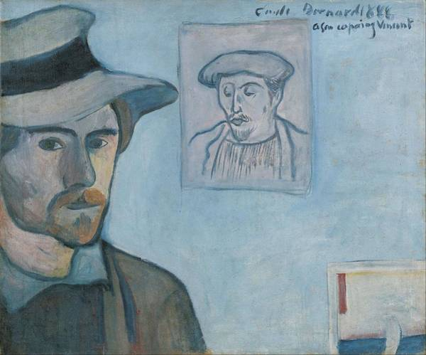 Wall Art - Painting - Self-portrait With Portrait Of Gauguin by Emile Bernard