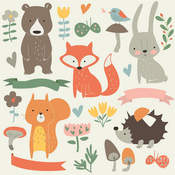 Wall Art - Digital Art - Set Of Forest Animals In Cartoon Style by Kaliaha Volha