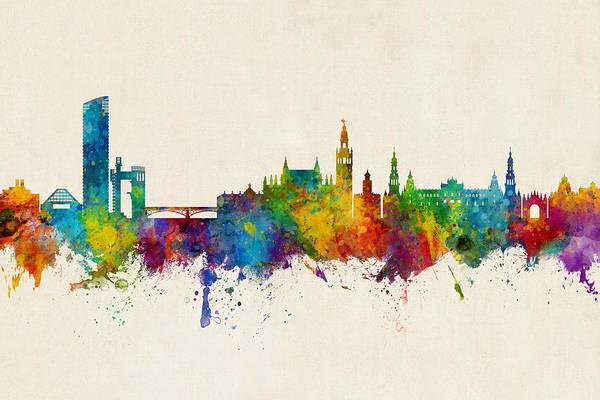 Digital Art - Sevilla Spain Skyline by Michael Tompsett
