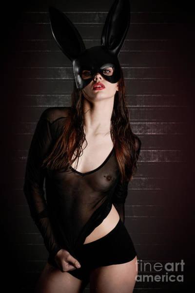 Lip Piercing Wall Art - Photograph - Sexy Black Rabbit by Jt PhotoDesign