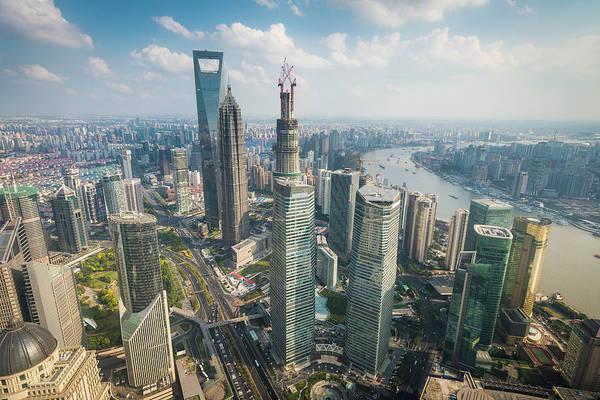Shanghai Pudong Skyscrapers Futuristic Art Print