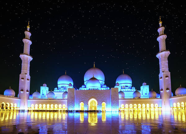 Wall Art - Photograph - Sheikh Zayed Grand Mosque At Night by Alexey Stiop