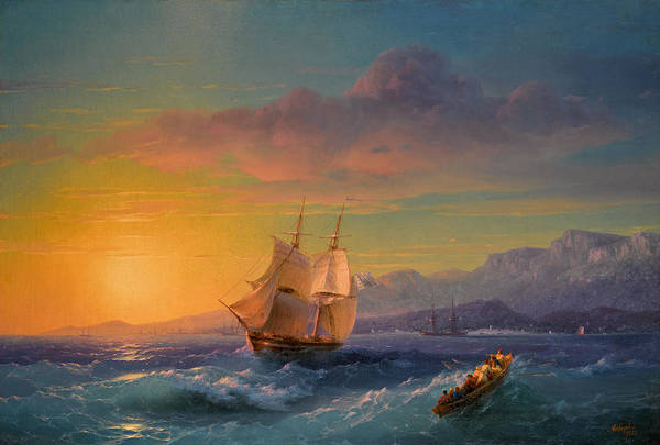 Painting - Ship At Sunset Off Cap Martin by Ivan Konstantinovich Aivazovsky