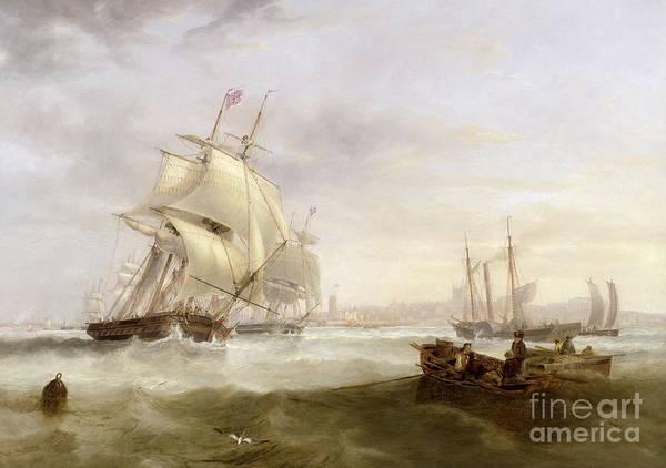 Wall Art - Painting - Shipping Off Hartlepool by John Wilson Carmichael