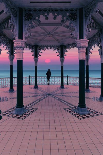 Photograph - Silhouette Of Girl  On Brighton Bandstand by Maggie McCall