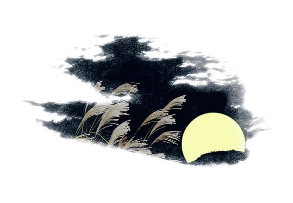Digital Illustration Digital Art - Silver Grass And Full Moon by Norio Sato/a.collectionrf