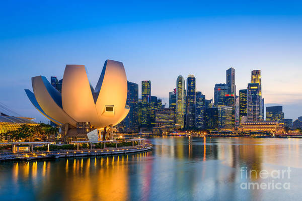 Singapore Skyline At The Marina During Art Print by Sean Pavone