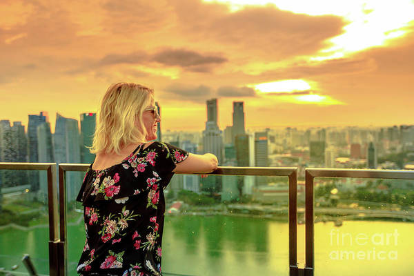 Photograph - Singapore Woman Rooftop by Benny Marty