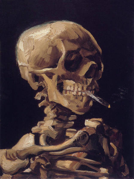 Painting - Skull With Cigarette  by Vincent van Gogh
