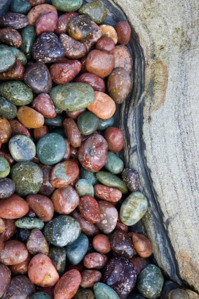 Wall Art - Photograph - Small Colorful Pebbles Along The Sea by Darrell Gulin