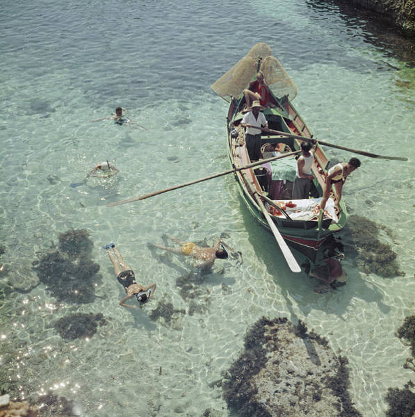 Nautical Photograph - Snorkelling In The Shallows by Slim Aarons