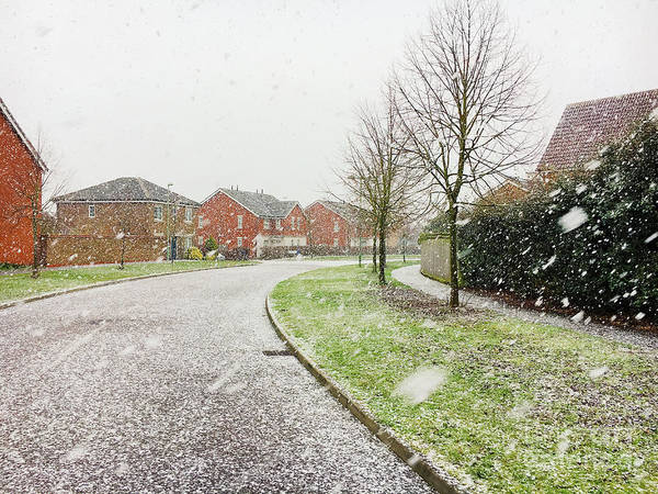Wall Art - Photograph - Snow Fall In Modern Housing Area by Tom Gowanlock