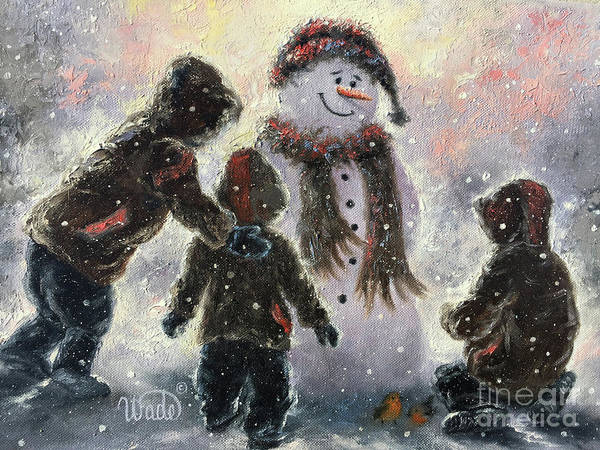 My Son Painting - Snowman And Three Boys by Vickie Wade