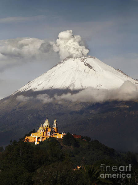 Mexico Photograph - Snowy Volcano And Church by Cristobal Garciaferro
