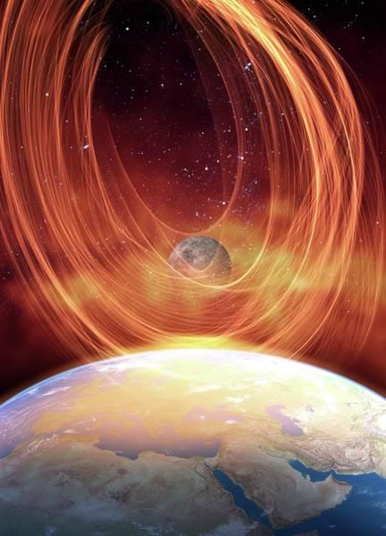 Temperature Digital Art - Solar Flare Hitting Earth, Artwork by Victor Habbick Visions
