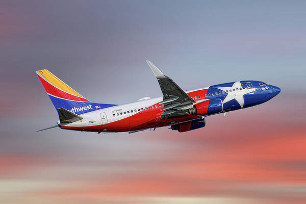 Wall Art - Mixed Media - Southwest Airlines Boeing 737-7h4 by Smart Aviation