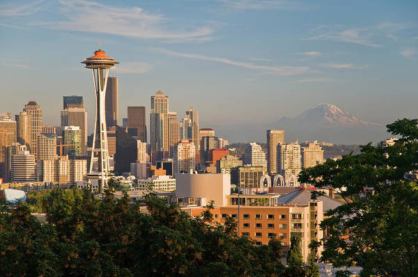 Public Places Wall Art - Photograph - Space Needle And City Skyline From by Glenn Van Der Knijff