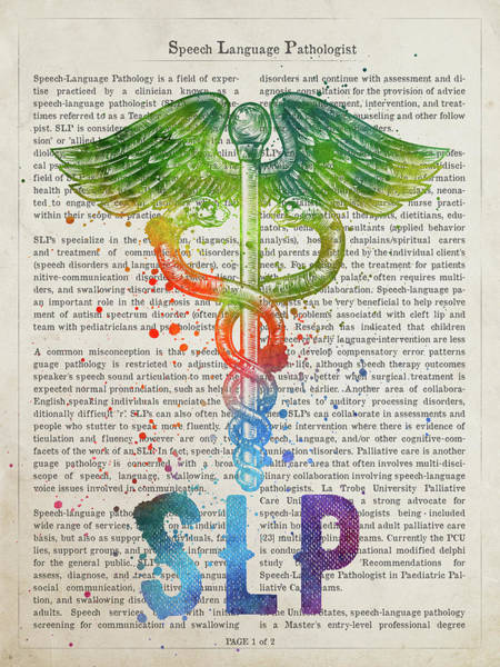 Wall Art - Digital Art - Speech Language Pathologist Gift Idea With Caduceus Illustration by Aged Pixel