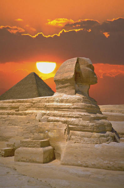 Egypt Photograph - Sphinx And Pyramid At Sunset by Fotopic
